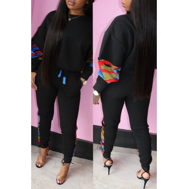 Lovely Trendy Patchwork Black Twilled Satin Two-piece Pants Set