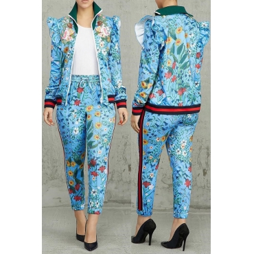 Lovely Casual Floral Printed Blue Blending Two-piece Pants Set