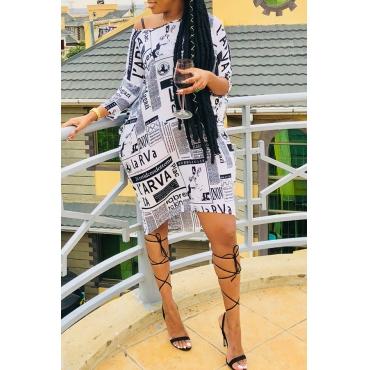 Lovely Fashionable Printed White Knee Length Dress (Batch Print)