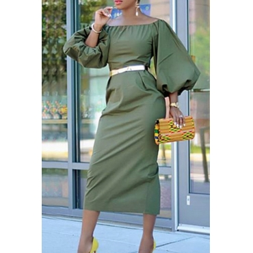 Lovely Chic Lantern Sleeves Light Green  Mid Calf  Dress(Without Belt)