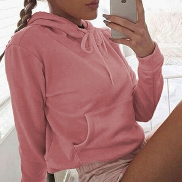 Lovely Casual Drawstring Light Pink Hoodies