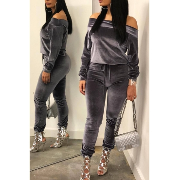 Lovely Casual Dew Shoulder Grey Corduroy Two-piece Pants Set