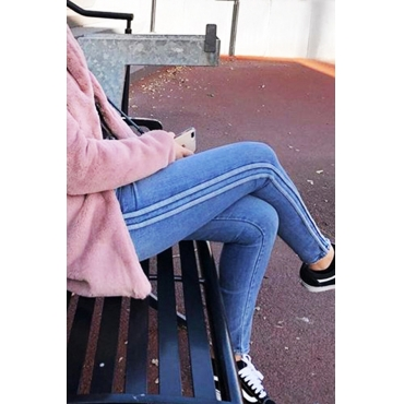 Lovely Trendy Striped Blue Denim Jeans