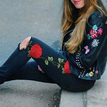 Lovely Trendy Embroidered Design Black Pants