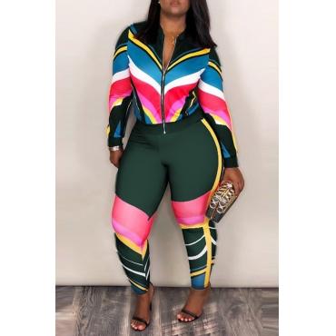 Set Di Pantaloni A Due Pezzi In Mischia Verde Intenso Patchwork Sportswear
