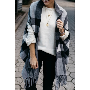 Lovely Casual Grids Black Cardigan Sweaters