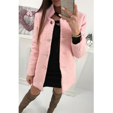 Lovely Sweet Buttons Decorative Pink Cardigan Wool