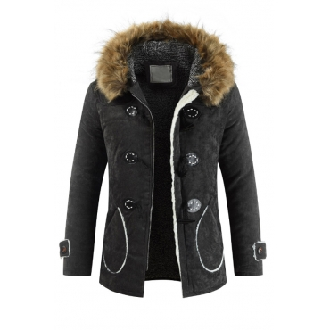 Lovely Casual Buttons Single Breasted Black Cotton Parkas