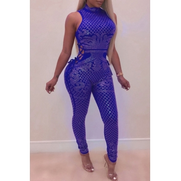 Lovely Sexy Hollowed-out Skinny Blue Knitting One-piece Jumpsuit