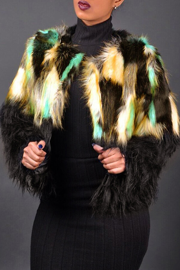 Lovely Fashion Patchwork Colorful Faux Fur Coat