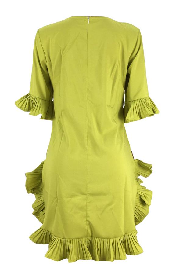 Mini Vestido De Mezcla Verde Encantador Con Volantes Y Diseño Verde