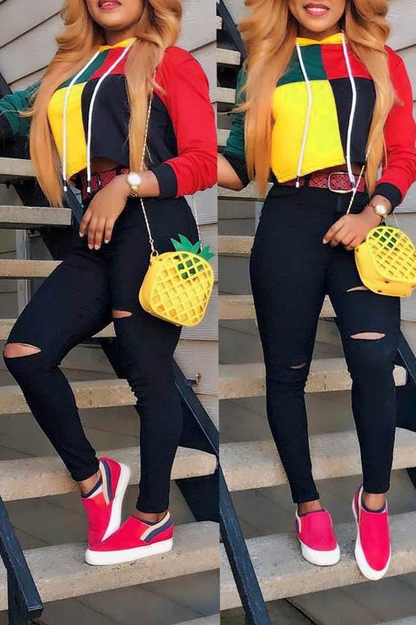 Encantadoras Sudaderas Con Capucha Multicolor De Color Informal