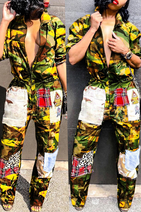 Lovely Casual Patchwork Camouflage Printed Yellow  One-piece Jumpsuit