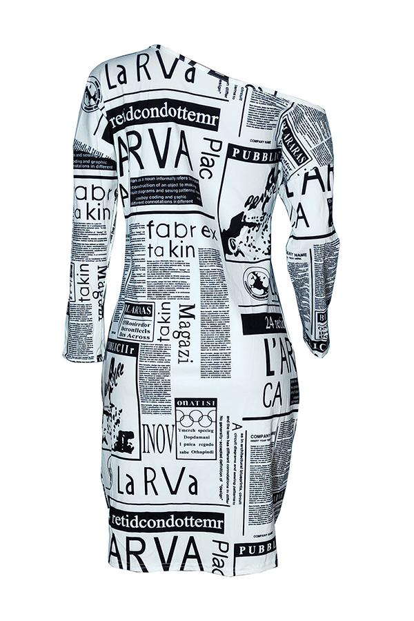 Lovely Euramerican Printed White Knee Length Dress (Batch Print)