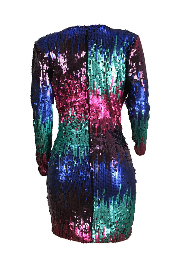 Mini Vestido De Mezcla Decorativo Con Lentejuelas Multicolor De Moda Encantador (impresión De No Posicionamiento)
