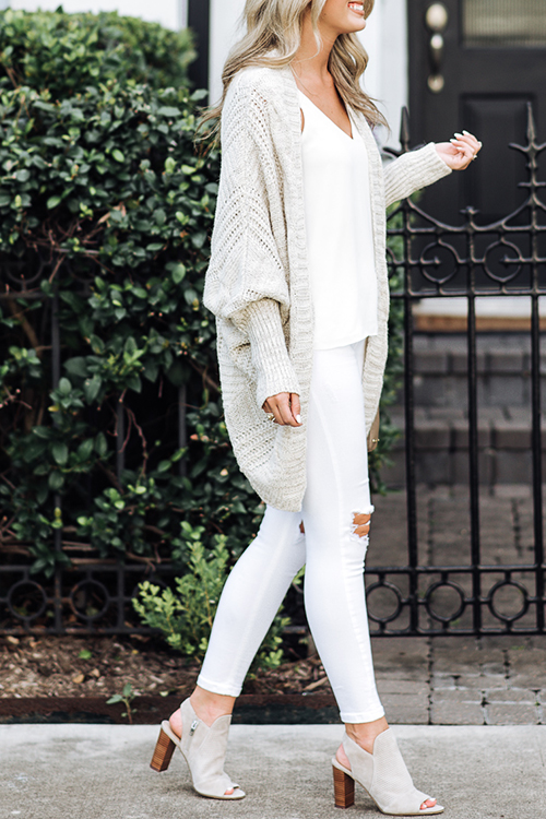 Lovely Fashion Batwing Long Sleeves White Cardigans