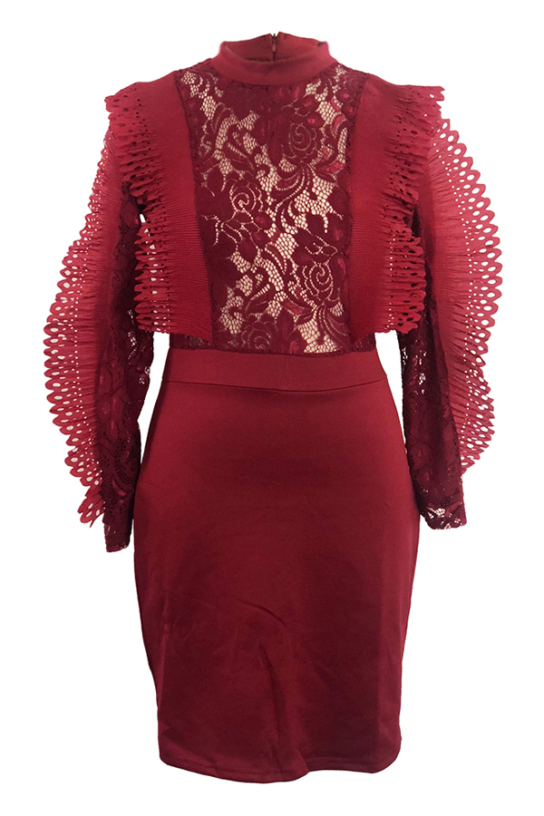 Lovely Elegant Patchwork See-through Wine Red Lace Mini Dress