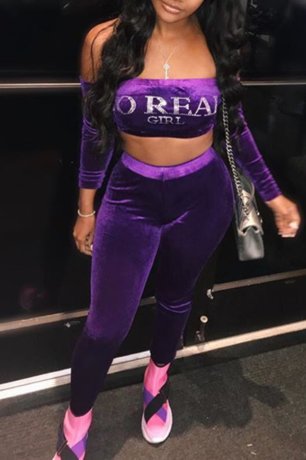 Lovely Sexy Long Sleeves Strapless Purple Two-piece Pants Set