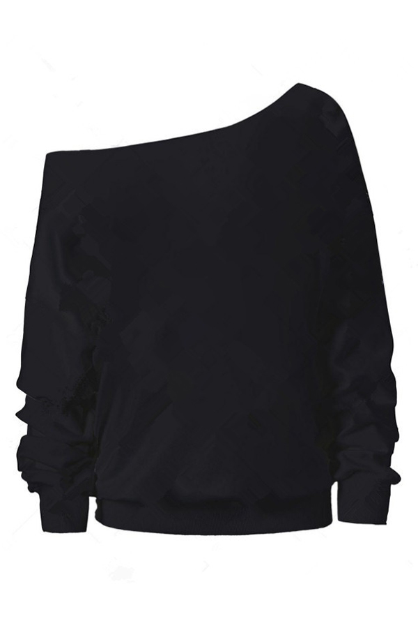 Lovely Casual Sloping Shoulder Halloween Black Hoodies