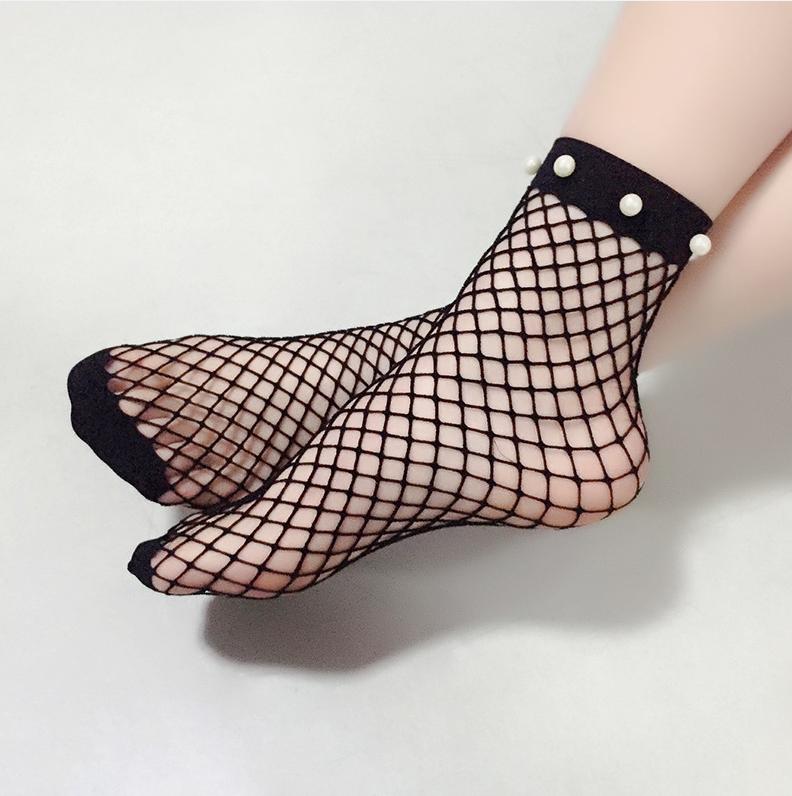 Encantadora Sexy Perla Decorativa Calcetines De Malla Negro