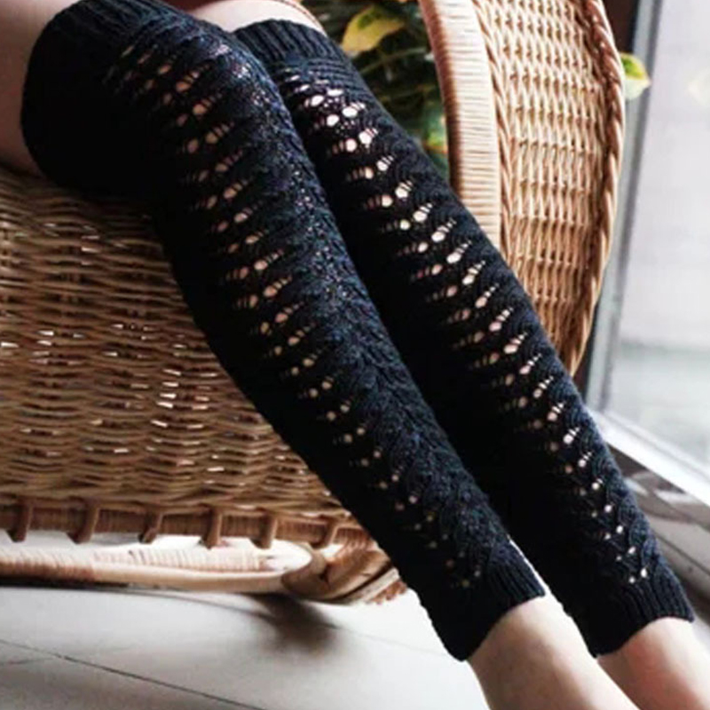 Lovely Fashion Hollow-out Knee-high Black Socks