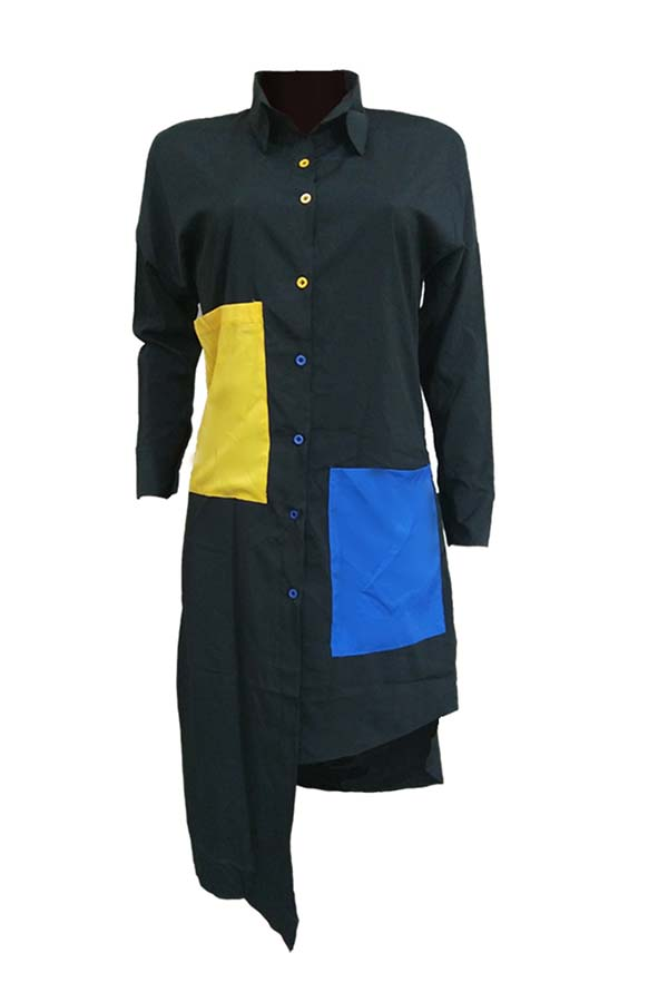 Lovely Euramerican Color Collision Splicing Irregular Black Mid Calf Dress