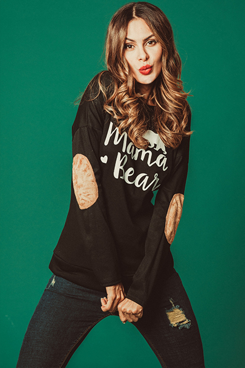 Lovely Casual Letters Printed Black Modal T-shirt