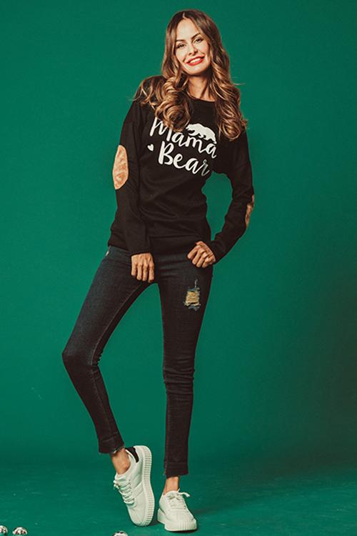 Camiseta Casual Elegante Estampada Letras Negras