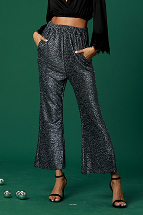 Lovely Trendy Silver Trumpet Pants