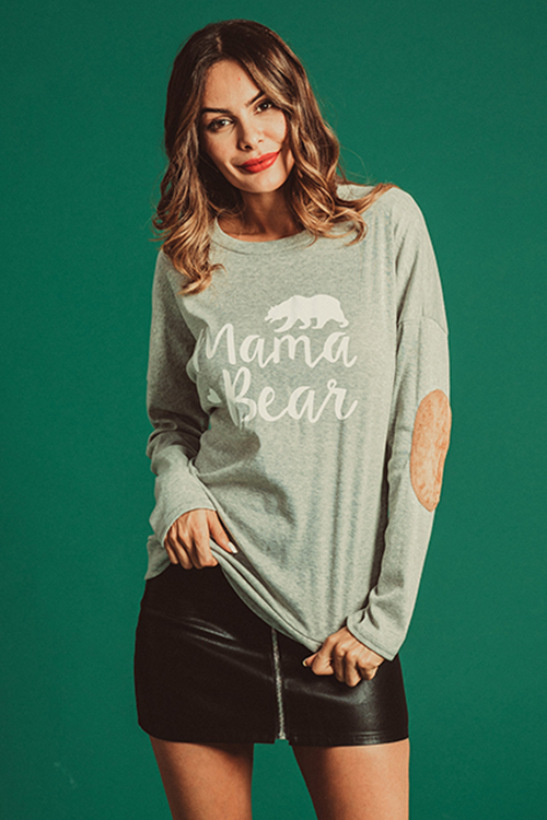 Lovely Casual Letters Printed Grey Modal T-shirt
