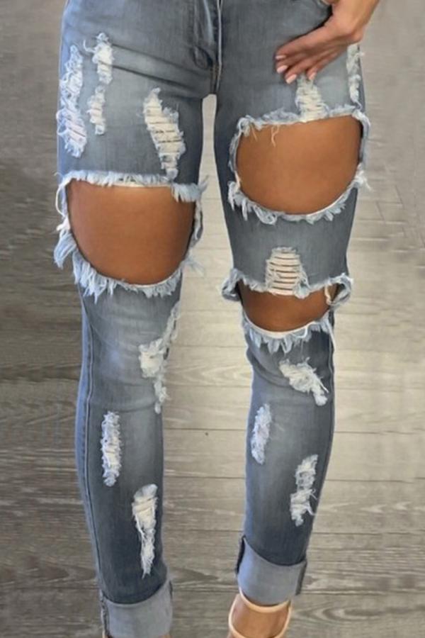 Lovely Euramerican High Waist Broken Holes Blue Denim Pants