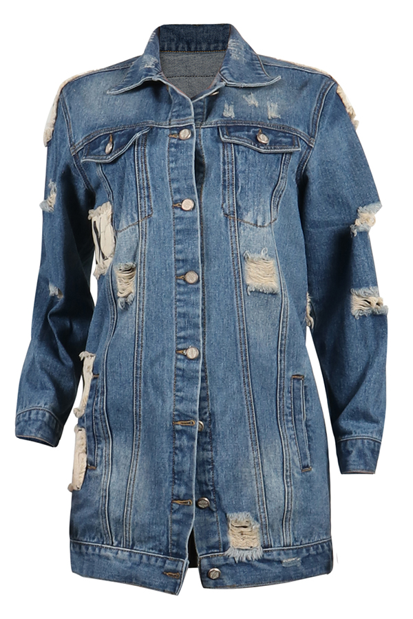 Lovely Casual Long Sleeves Baby Blue  Denim Coat