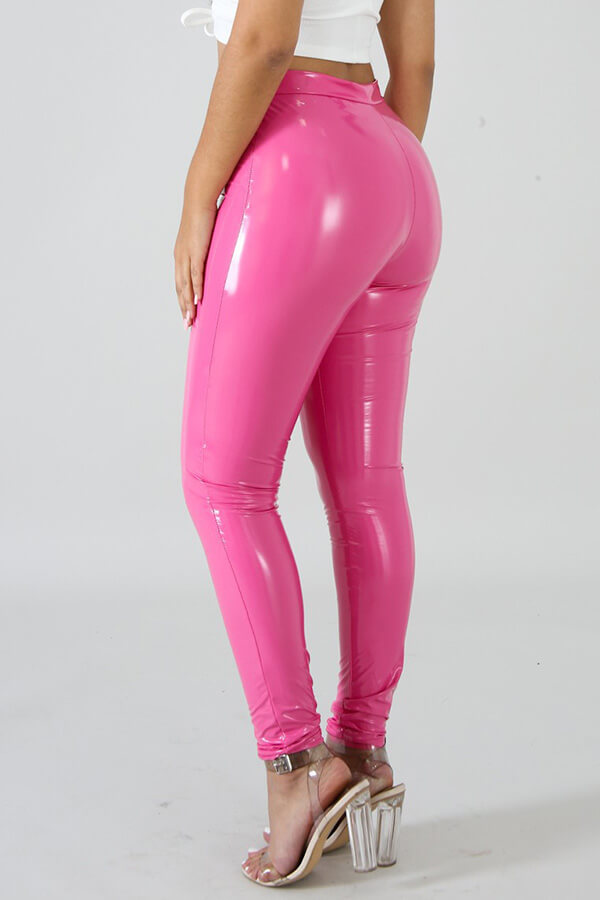 Hermosa Moda Rosa Rojo PU Pantalones Pitillo