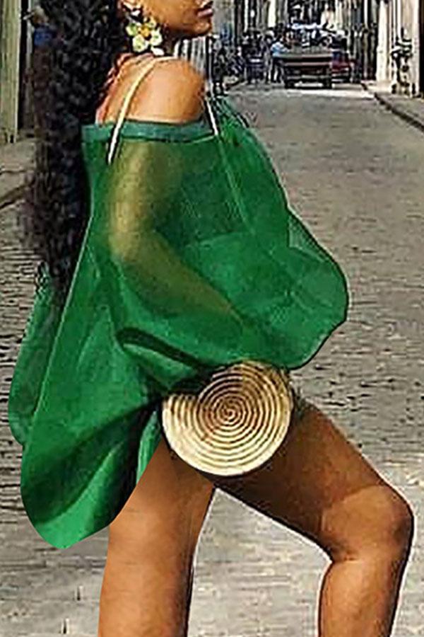 Lovely Sweet Lantern Sleeves See-Through Green Shirts