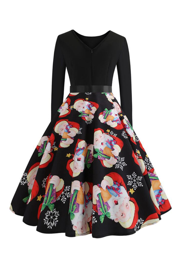 Lovely Sweet Christmas Printed Black Knee Length Dress