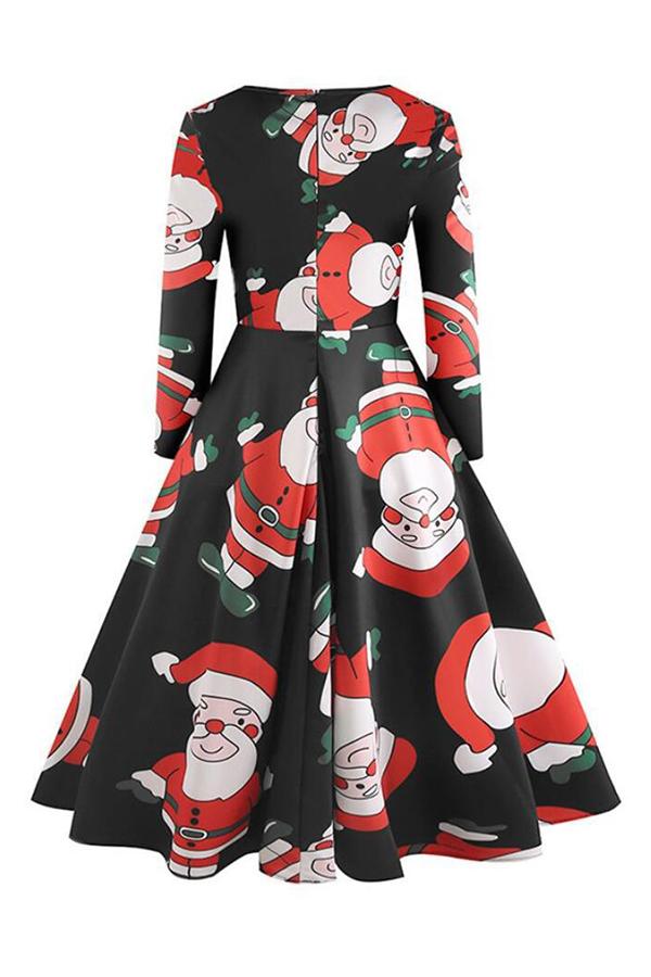 Lovely Sweet Christmas Printed White Blending Knee Length Dress