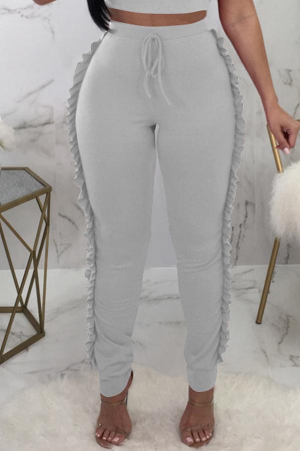 Lovely Trendy Ruffle Design Grey Knitting Skinny Pants
