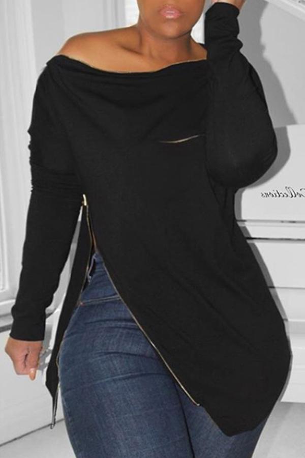 Lovely Casual Irregular Zipper Black Hoodies
