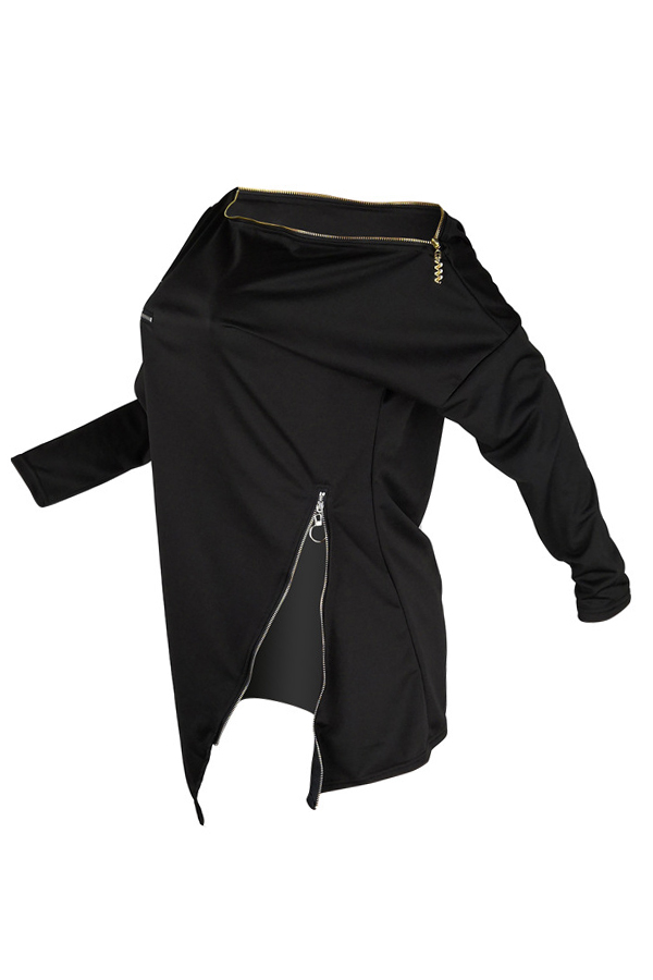 Lovely Casual Irregular Zipper Black Hoodies