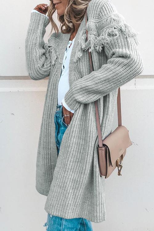 Lovely Fashion Long Sleeves Tassel Grey Sweater Cardigans