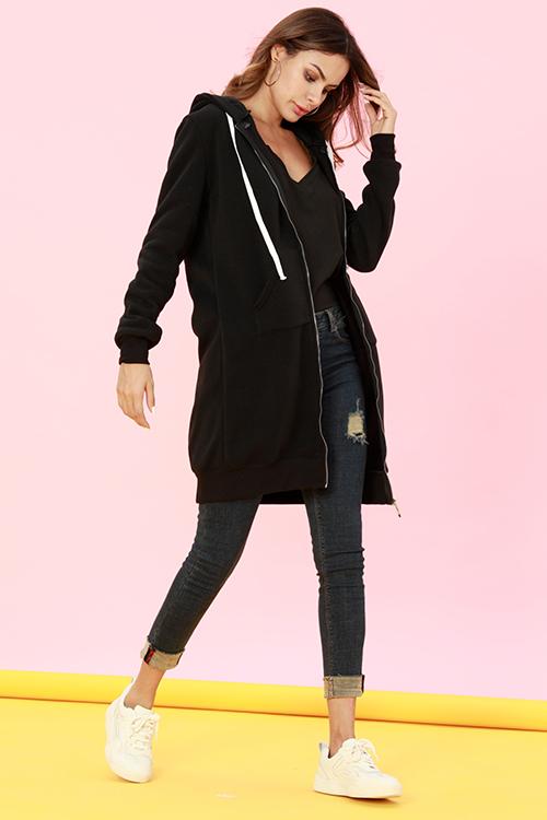 Lovely Casual Long Sleeves Black Long Coat