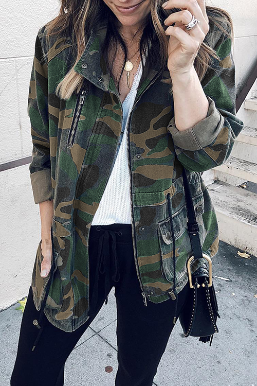 Lovely Casual Camouflage Printed Cotton Blends Coat