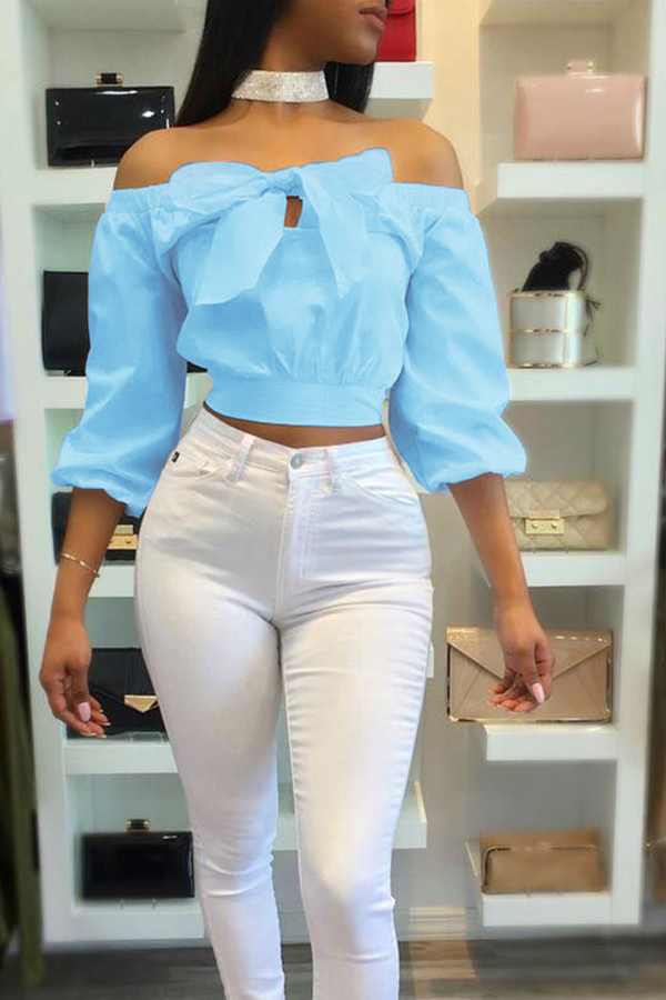 Lovely Stylish Bateau Neck Long Sleeves Bow-Tie Decorative Blue Cotton Shirts(Without Choker)