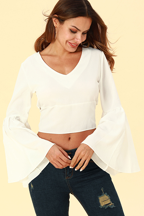 Lovely Casual Horn Sleeves  White Chiffon  Blouses