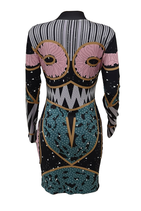 Lovely Trendy Printed Multicolor Mini Dress