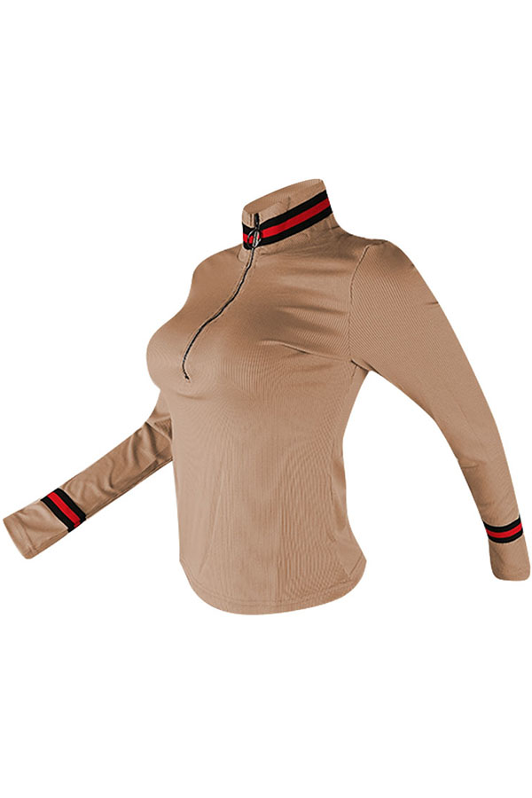 Lovely Casual Bust Zippers Khaki Sweaters