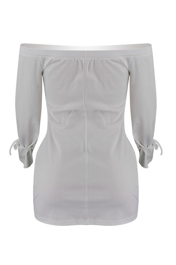 Lovely Casual Long Sleeves White Blending Mini Dress
