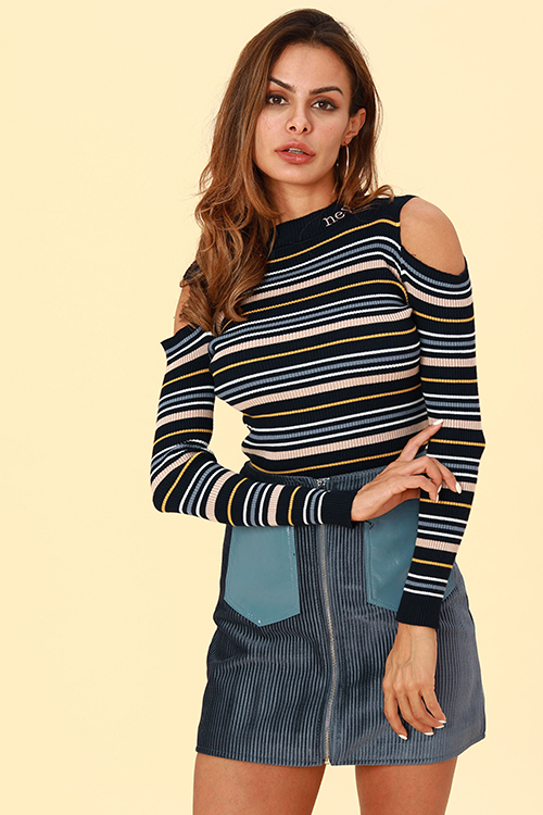 Lovely Casual Dew Shoulder Blue Knitting Sweaters