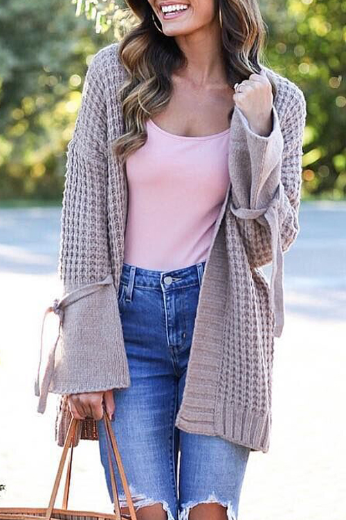 Lovely Fashion Long Sleeves Light Purple Sweater Cardigans