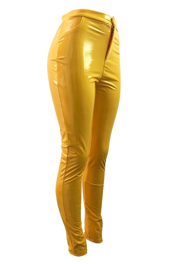 Lovely Fashion Skinny Yellow PU Pants